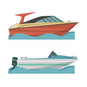 Set motor boat and small boat with outboard motor.
