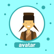 Asian Man Avatar Icon Korean Male In Traditional Costume Profile Portrait