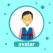 Asian Man Avatar Icon Japanese Male In Traditional Costume Profile Portrait
