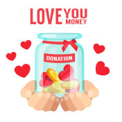 Love You Money Hand Holding Jar With Coin Heart Donation Background Vector Image