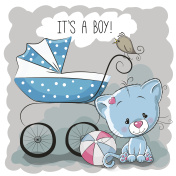 Cat with baby carriage