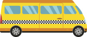 Yellow taxi bus vector illustration.