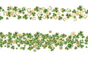 Saint Patricks Day Background with Clover Leaves or Shamrocks Isolated on White Background.
