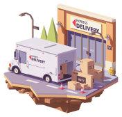 Vector low poly delivery van