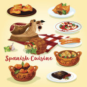 Spanish cuisine national dishes poster
