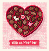 Heart shaped valentines day candy box with chocolate bonbons that spell Love You. Vector illustration.