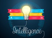 Intelligence concept, creative light bulb abstract info graphic