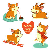 Set of welsh corgi character illustrations in different activities