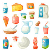 Milk dairy products in flat style breakfast gourmet organic meal fresh diet food milky drink ingredient nutrition vector illustration