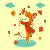 Vector dog jumping on the autumn puddles. Welsh corgi dog. For Xmas, New Year poster, calendar