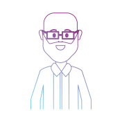 line man bald with glasses and beard