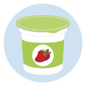 Yogurt healthy cream milk product in plastic container. Flat style