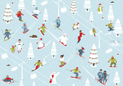 Cartoon Mountain Ski Resort Seamless Pattern
