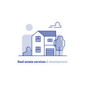 Real estate property, residential building, country house, home exterior
