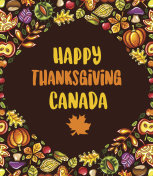 Happy Thanksgiving card with Canadian maple leaf, background, poster.