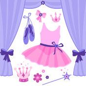 Ballet stage vector set