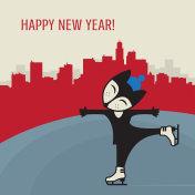 Fox training Ice figure skating Happy New Year