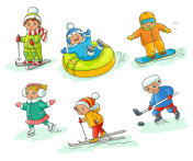 Hand drawn kids children doing winter activities
