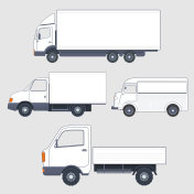 Set of different  trucks and van. Truck bodies