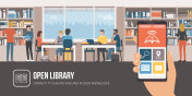 Library app and people studying together