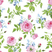 Forget-me-nots and roses seamless vector print