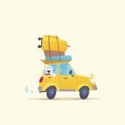 Modern poster with a summer car for travel with Luggage