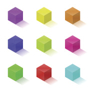 Nine colorful bright cubes