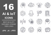 Set of 16 quality icons about AI, IoT,future technology. Editable Stroke