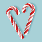 Bright poster with candy cane heart.
