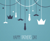 Fathers day blue poster. Hanging crown and tie