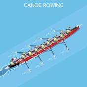 Canoe Coxswain Eight  Summer Games 3D Vector Illustration