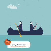 Businessmen rowing in opposite directions