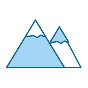 blue mountain cartoon vector