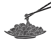 Hand drawn doodle Noodle at plate and stick. - Illustration