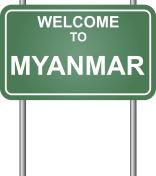 Welcome to Myanmar, green signal vector