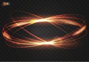 Circular light effect vector fire ring. Luminous fire elepses.