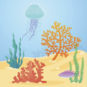 Colorful coral rift with jellyfish