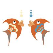Bright orange tropical fish with blue ornament