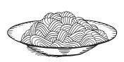 Hand drawn doodle Noodle at plate. - Illustration - Illustration - Illustration Asian Wheat Noodles, Breakfast, Dinner, Eating, Food