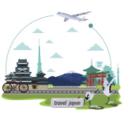 illustration. travel around Japan