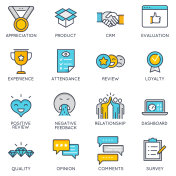 Vector linear icons related to feedback and customer relationship management