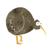 retro cartoon kiwi bird