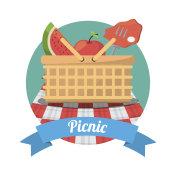 picnic food meat fruits basket