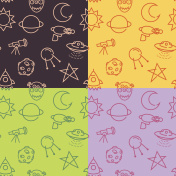 Vector set seamless pattern with cartoon baby styled space pictograms