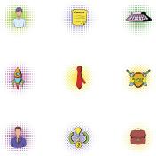 Business icons set, pop-art style