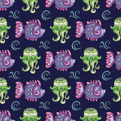 Sea travel seamless background. Tropical fish and Jellyfish pattern