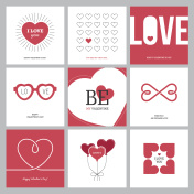 Creative love design concepts set with hearts