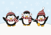 Cute penguins on snow background