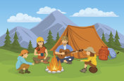 Family sitting around campfire and tent. camping hiking adventure trip day scene