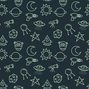 Vector seamless pattern with cartoon baby styled space pictograms